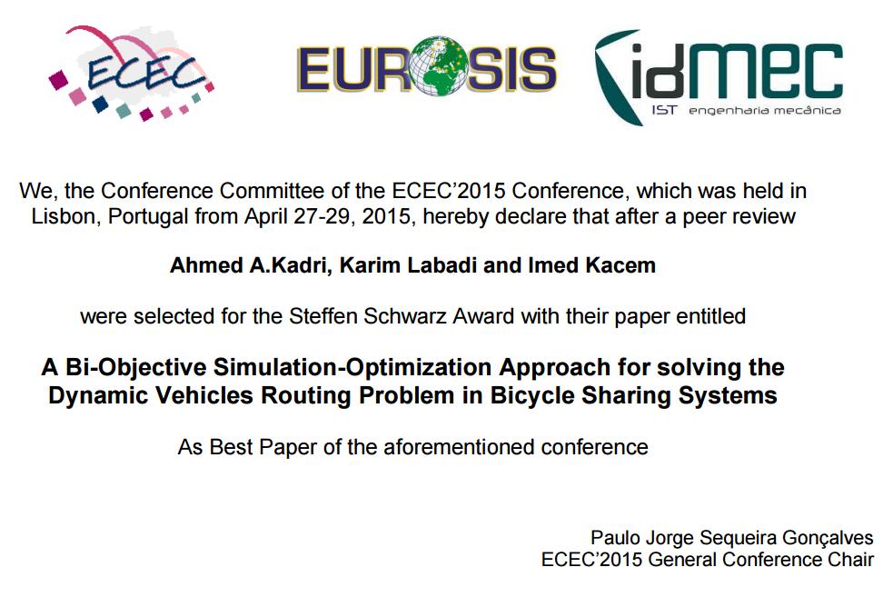 Best Paper Award (Avril 2015), dans le cadre des travaux de thèse de Doctorat/ Co-Encadrement ECAM-EPMI / Univ. de Lorraine
